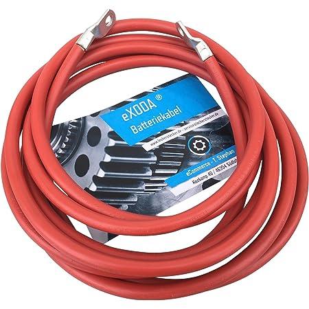Exoda Batteriekabel 10 Mm 300cm Kupfer Stromkabel Mit Ringösen M6 Rot 12v Kfz Kabel Auto