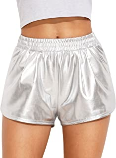 Women's Metallic Shorts Elastic Waist Shiny Pants