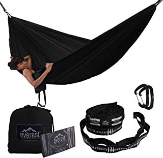 Camping Hammock - Everest   Double Outdoor Hammocks with Carabiners & Tree Saver Straps Parachute Ripstop Diamond Weave Nylon Lightweight Portable for Hiking, Backpacking & Travel