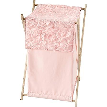 Sweet Jojo Designs Pink Floral Rose Baby Kid Clothes Laundry Hamper - Solid Light Blush Flower Luxurious Elegant Princess Vintage Boho Shabby Chic Luxury Glam High End Roses