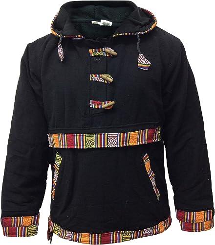 Shopoholic Mode TotaleHommest Doubleure Polaire Woffle Pull,Très Chaud Hippie Pull à Capuche - Noir, petit