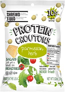 Shrewd Food Keto Protein Croutons | High Protein, Low Carb, Gluten Free | Real Cheese, No Artificial Flavors | Soy Free, Peanut Free (10-Pack of .52oz Bags) (Healthy Snack)