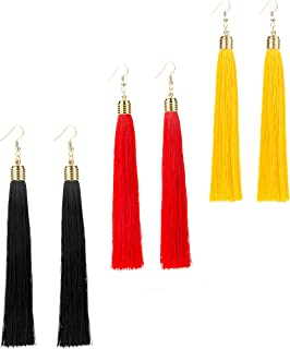 REVOLIA 3 Pairs Womens Long Tassel Dangle Earrings for Girls Fringe Drop Earrings Elegant