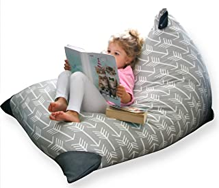 MiniOwls Stuffed Animal Toy Storage Bean Bag Chair Cover – Boho Gray with Arrows Cotton Cozy Seat When Filled adds on to a Great Room Decor (200L/52gal)