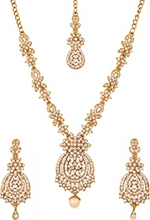 Indian Bollywood Rhinestones Bridal Jewelry Necklace Set in Antique Gold Tone for Women