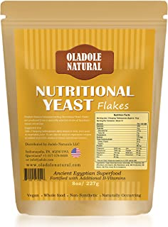 Oladole Natural Pure Natural Nutritional Yeast Flakes (8 oz 227 grams) Whole Food Based Protein Powder, Vitamin B Complex,...