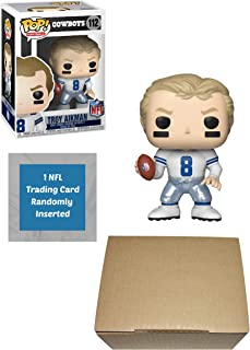 Funko Troy Aikman Dallas Cowboys Pop! Vinyl Figure Bundle with 1 NFL Trading Card & 1 Cardboard Protector Box