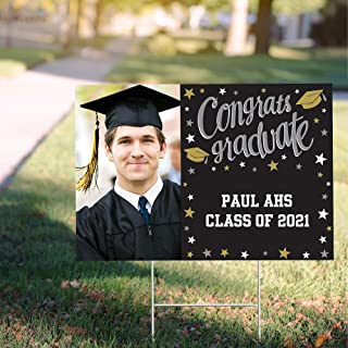 Party City Custom Class of 2021 Graduation Photo Yard Sign, Personalized Party Supplies, Decorations, Black, Gold & Silver...