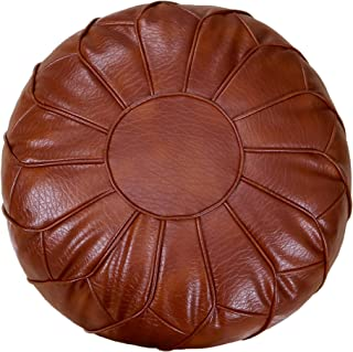 Thgonwid Unstuffed Pouf Cover - Round Foot Stool Ottoman - Storage Bean Bag Floor Chair - Luxury Leather Pouffe - Small Foot Rest for Living Room, Bedroom or Wedding Gifts (Reddish Brown)