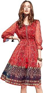 Artka Women's Ethnic Floral Print V Neck Red Chiffon Midi Dress