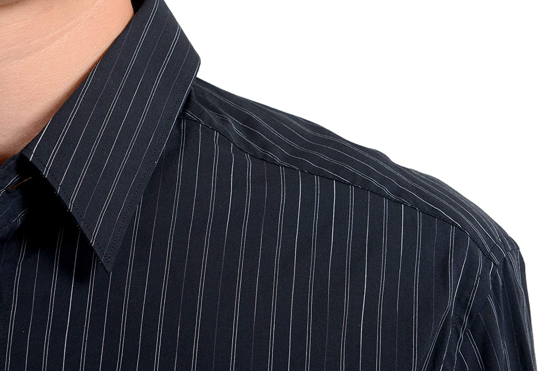 Versace Men's Striped Long Sleeve Dress Shirt US 15.5 IT 39 Black