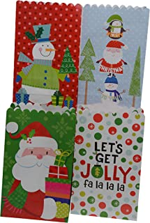 Christmas Cookie Favor Bags, Treat Bags for Goodies in 4 Assorted Holiday Designs 6 Inch, for Xmas Party Favors (Set of 48)
