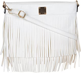 Stylish Fringes Tassel Women Girls Faux Leather Crossbody Purse Shoulder Handbag For Ladies With Zip Closure