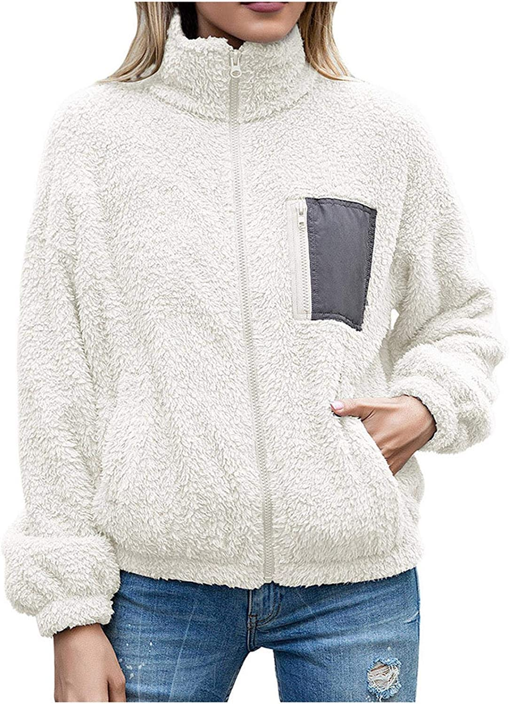 Duobla Ladies Winter Warm Casual Jacket Fashion Long Sleeve Lapel Zip Up Faux Coat Jacket with Pockets Warm Winter