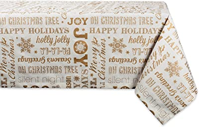 DII Collection Metallic Christmas, 52x52, Gold Holiday Collage
