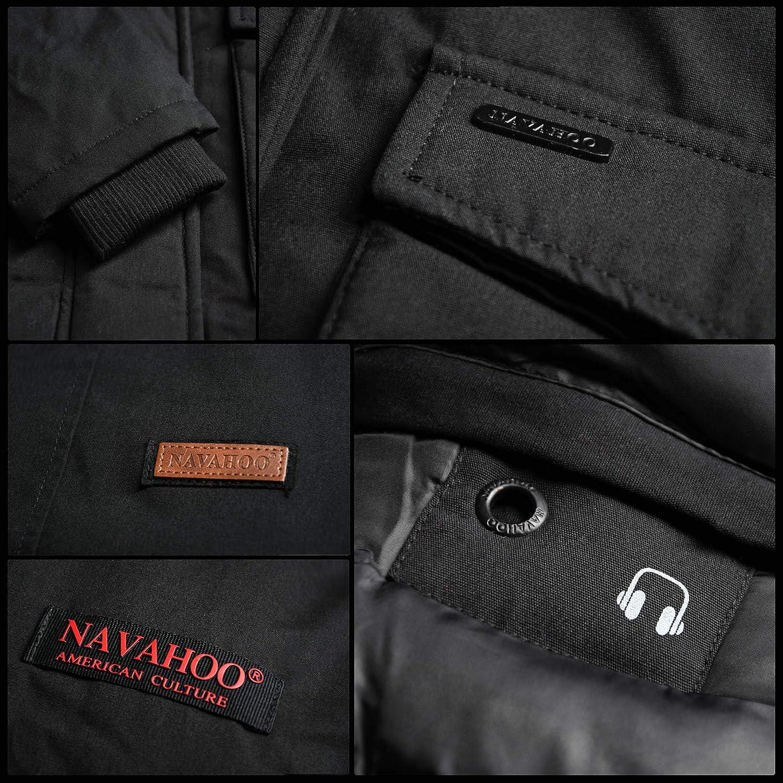 Navahoo Damen Winter Jacke Parka Mantel Winterjacke warm gefüttert Kapuze B826 Grau