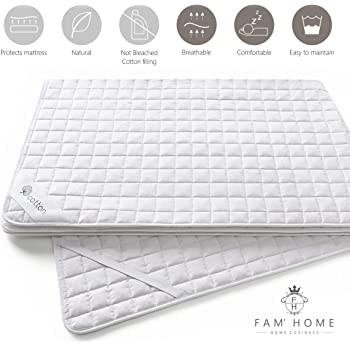 Anti-acaros Anti-bacteriano FAM Home Cotton Touch Protector de Colch/ón con 4 Esquinas El/ásticas Cubre Colch/ón Transpirable 80 x 200 cm Fundas para Cama Adultos y de Ni/ños Hipoalerg/énico