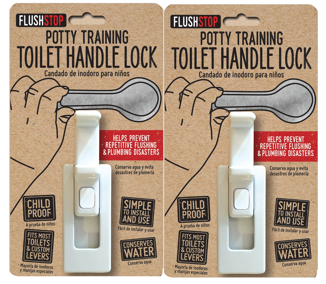 Childproof Toilet Handle Lock (2-Pack, White Button)