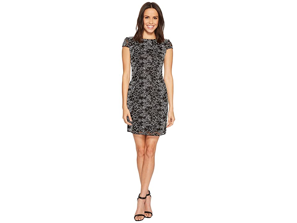 Adrianna Papell Cap Sleeve Corded Lace Sheath Cocktail Dress (Black/White) Women