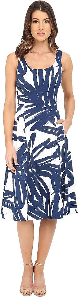 Pique Knit Sleeveless Scoop Midi Dress