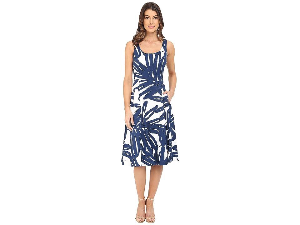 Donna Morgan Pique Knit Sleeveless Scoop Midi Dress (Enamel/Ink) Women