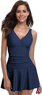SHEKINI Women's One Piece Skirt Swimsuit Ruched Retro Swimdress Bathing Suit