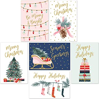 "Christmas Cards Set - 24 Gold Foil Holiday Cards with Red Envelopes – 6 Assorted Designs featuring Traditional Yuletide Images! Bulk Blank Greeting and New Years Cards - 4.25""x5.75"""