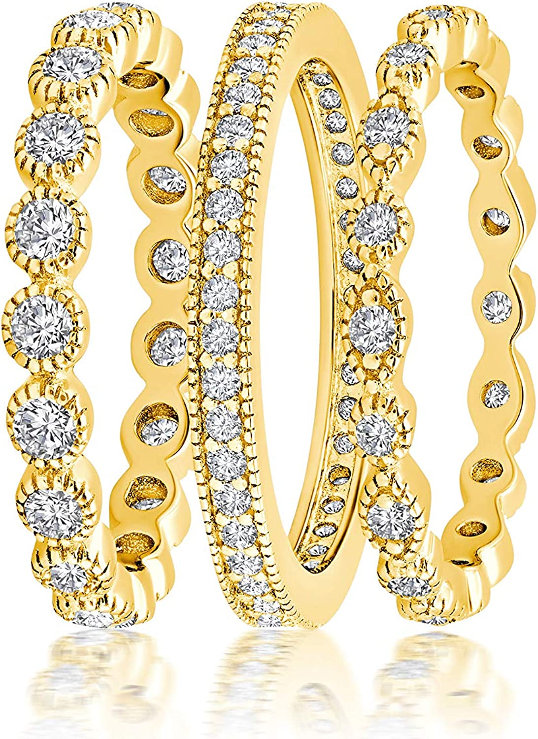3 Piece Outlet ☆ Free Shipping CZ Eternity List price Stackable Wedding Engagement or Fashion Ba