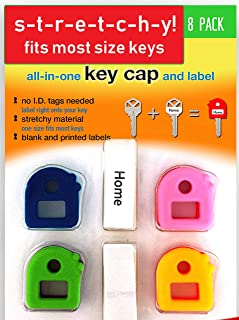 Key Caps Tags - Stretchy All-in-One Key Cover & Tags - ONE Size FITS Most Keys - 8 Pack Multicolor - Includes Blank Labels...