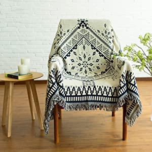 MayNest Scandinavian Throw Blanket Minimalist Home Decor Tassel Reversible Double-sided Woven Geometric Tapestry Vintage Design Bed Sofa Couch Cover Cotton Carpet Rug Chair Recliner Loveseat (S:71x51)