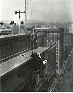 Harold Lloyd hanging from edge of building 8x10 Photo