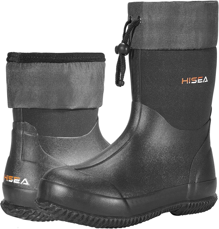 HISEA Ankle Rain Boots Waterproof Garden Boots Rubber Muck Mud Boots Outdoor Work Boots for Men