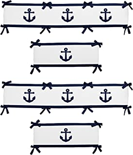 Sweet Jojo Designs 4-Piece Anchors Away Nautical Navy Blue and White Boys Collection Baby Crib Bumper