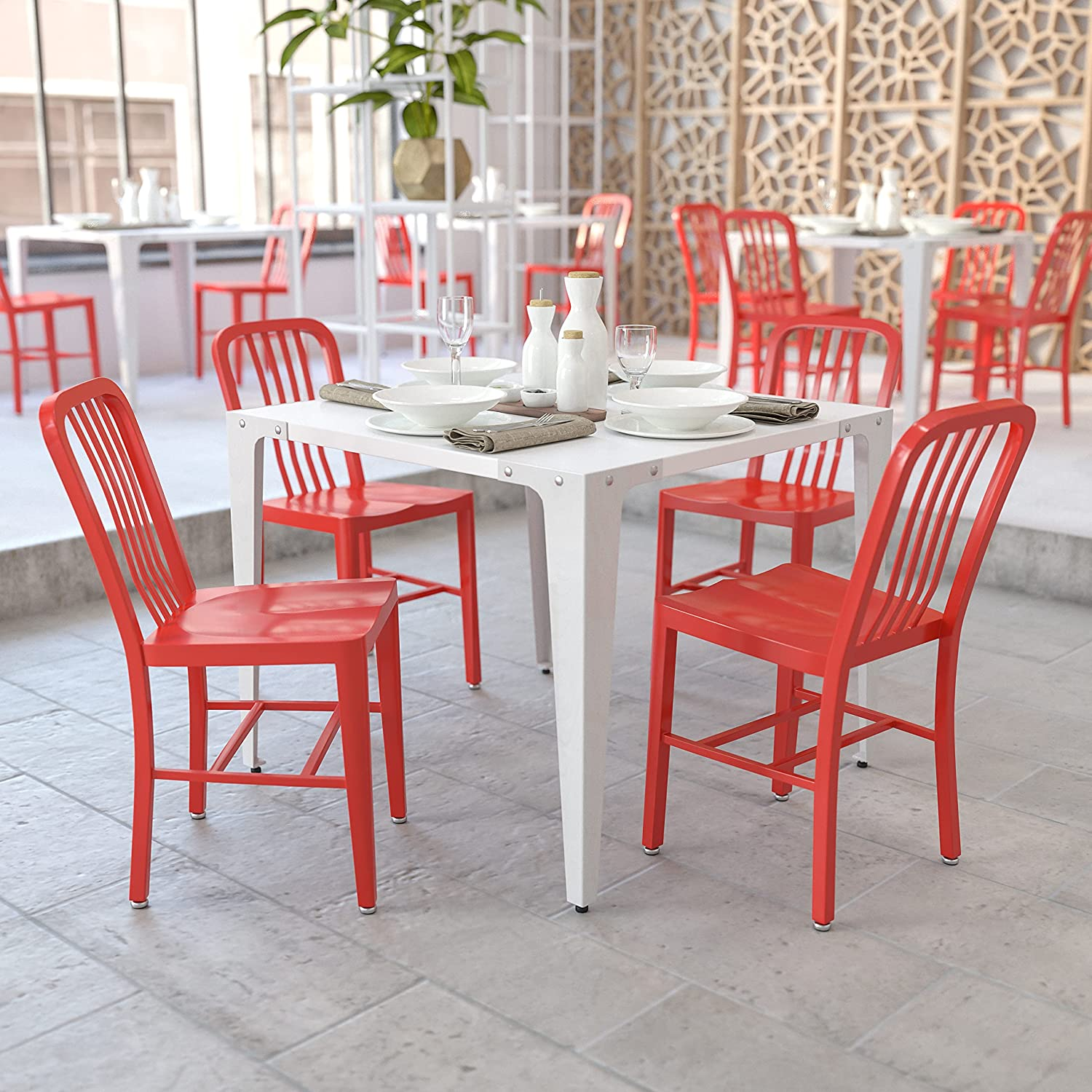Amazon.com  Flash Furniture Commercial Grade 9 Pack Red Metal ...