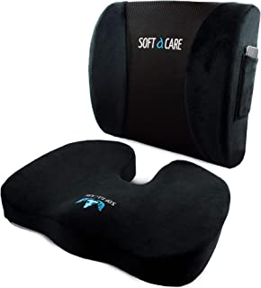 SOFTaCARE Seat Cushion Coccyx Orthopedic Memory Foam and Lumbar Support Pillow, Set of 2..