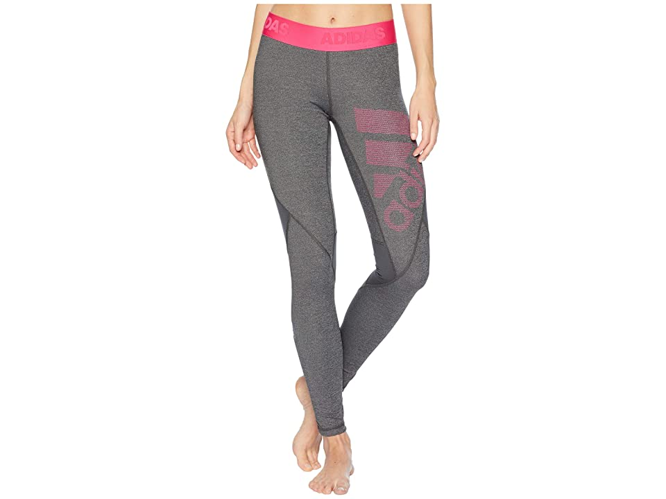 adidas Alphaskin Sport Long Logo Tights (Dark Grey Heather/Black/Real Magenta) Women