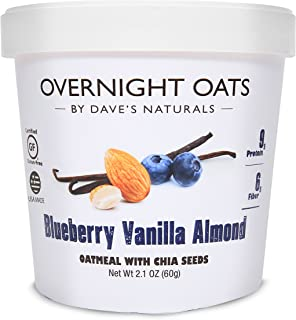 Overnight Oats by Dave's Naturals Blueberry Vanilla Almond with Blueberries, Almonds, Chia Seeds, and Whole Grain Oats (Pa...