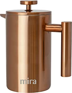 MIRA 20 oz Stainless Steel French Press Coffee Maker | Double Walled Insulated Coffee & Tea Brewer Pot & Maker | Keeps Brewed Coffee or Tea Hot | 600 ml (Copper)