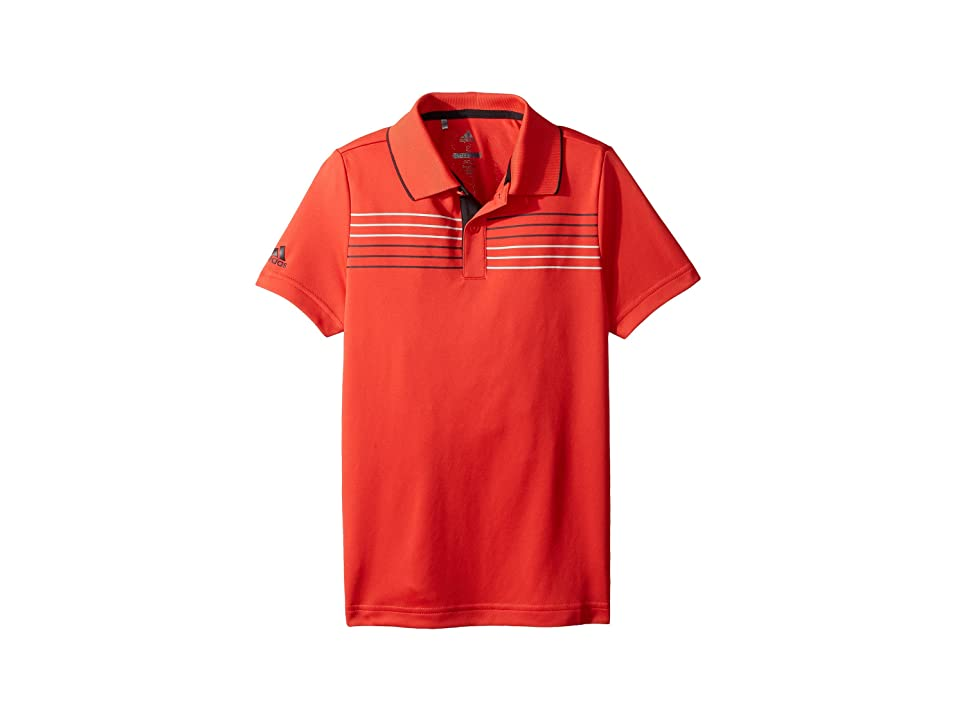 Image of adidas Golf Kids Merch Polo (Big Kids) (Hi-Res Red) Boy's Short Sleeve Pullover