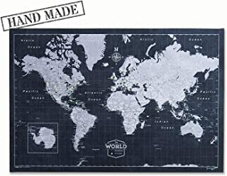 Push Pin World Map Board - With Push Pins to Mark World Travel - Handmade in Ohio, USA - Design: Modern Slate
