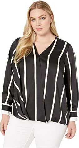 Plus Size Long Sleeve Dramatic Stripe Front Wrap Blouse