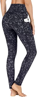 IUGA Leggings with Pockets for Women High Waisted Printed Yoga Pants for Women Workout Leggings for Women with Side Pockets