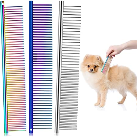 UUSHER Cat Comb Dog Combs for Grooming Smooth Rounded Steel Teeth for Gently Combing Dogs and Cats and Removing Tangles and Knots Effectively