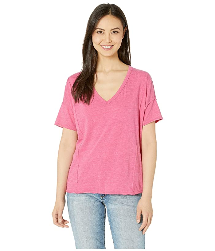 Lucky Brand  Seamed Burnout Tee (Lilac Rose) Womens T Shirt