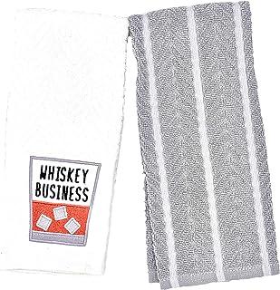 DBD Home 楽しい刺繍入りキッチンタオルセット - 2枚の柔らかいテリークロス吸収性タオル