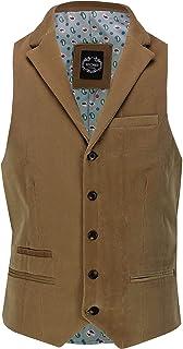 Xposed Mens Soft Corduroy Blazer Coat Vintage Retro Tailored Waistcoat UK[CWC-MATTHEW-CREAM-42,Waistcoat-Collar-Tan]