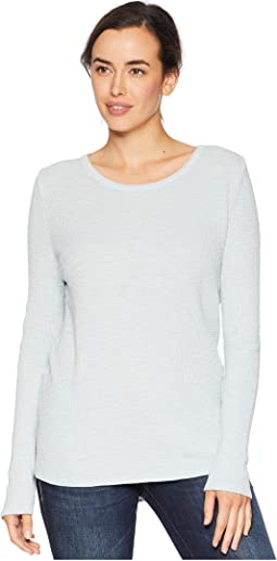 Softest Slub Waffle Thermal Long Sleeve with Cross Stitch Embroidered Cotton Silk Back