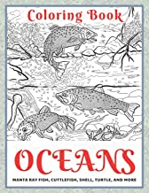 Oceans - Coloring Book - Manta ray fish, Cuttlefish, Shell, Turtle, and more