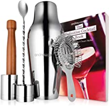 Andrew James Parisian Cocktail Set | Professional Bartender Kit | Includes Stainless Steel Shaker Recipe Book & Accessories | Measures Wooden Muddler Strainer Twisted Bar Spoon | Silver