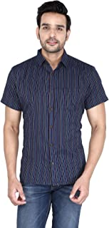 Men's Blue Casual Cotton Multi Color Katha Regular Fit Half Sleeve Shirt